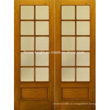 Diseño de puerta de vidrio templado de madera doble rústica