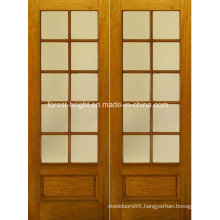 Rustic Double Wood Tempered Glass Door Design