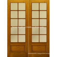 Rustic Double Wood Tempered Glass Door Design