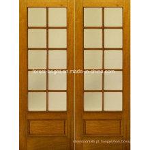 Madeira rústica dupla madeira temperado porta Design