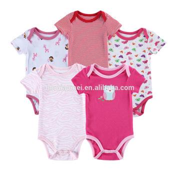 Le plus nouveau style bébé fille barboteuse 5 in1set couleurs mélangées bébé combinaisons combinaisons jon jon barboteuse