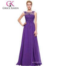Grace Karin New Arrival Sleeveless V-Back Purple Chiffon Plus Size Prom Dress CL007555-2