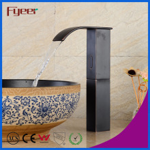 Fyeer High Body Black Brass Waterfall Automatic Sensor Tap
