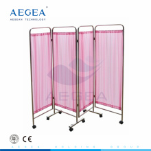 AG-SC001 Waterproof Woven fabric folding stainless steel with wheels hospital screen