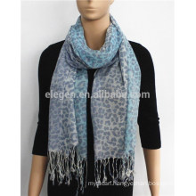 Acrylic Gradient Color Leopard Print Scarf with fringe
