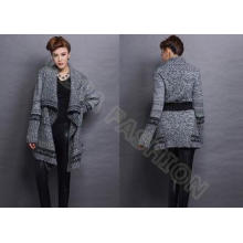 Long Sleeve Wool Womens Chunky Sweaters Coat With Belt Cowl
