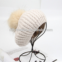 Knitted real fur pom pom attached crochet womens beanie hats