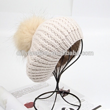 Вязаная натуральный меховой помпон крепится крючком женские шапочки шляпы