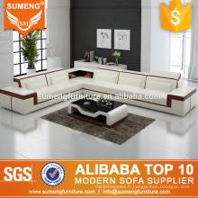 Meilleure qualité dernière fantaisie salon blanc et marron en cuir véritable coin canapé ensemble conceptions