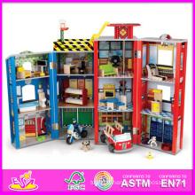 2014 mode nouveau jouet en bois de maison de poupée, gros jouet en bois de maison de poupée en bois, 3d coloré jouet en bois de bébé maison de poupée W06A047