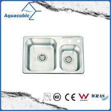 Fregadero clásico de la cocina del doble-Bowl del acero inoxidable (ACS7046M)