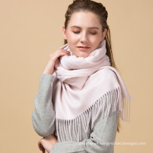 Fashional winter lady solid pink color custom 100% cashmere scarf