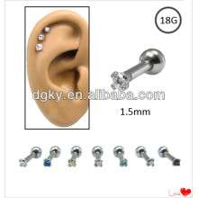 18G Gem Steel Helix or Tragus Piercing Ear Cartilage Stud