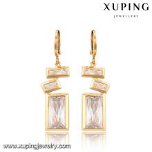 91315-Xuping Fashion Rectangle Diseño especial Drop Jewelry Pendientes con cristal