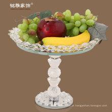 casamento favor popular design elegante bandeja de frutas de cristal com suporte