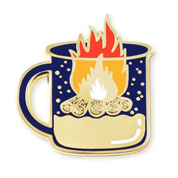 High Quality Happy Camper Bonfire Lapel Pin