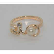 Valentine′s Day Pearl with Diamond Love Ring (XRG12460)