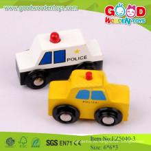 2015 Venta al por mayor modelo de policía de coches, color amarillo y blanco, Mini coche de juguete de madera