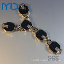 Moda rhine metal zapato cadena hebilla para señora