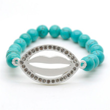 Turquoise 8MM Round Beads Stretch Gemstone Bracelet with Diamante Lip Piece