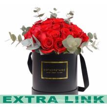 Caja de empaquetado de encargo hermosa del tubo de la flor del cartón del diseño de los proveedores de China con la cinta del satén
