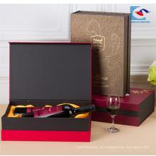 Heiße verkaufende kundenspezifische Pappweingeschenkbox für 2 Flaschen mit Magneten