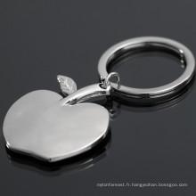 Fabrication de mode en gros porte-clés en forme de pomme en métal