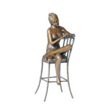 Femme Figure Bronze Sculpture Chaise Dame Intérieur Décoration En Laiton Statue TPE-591