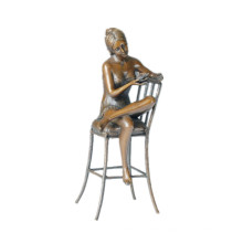 Female Figure Bronze Sculpture Chair Lady Indoor Decor Brass Statue TPE-591