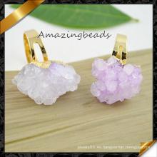 Anillos de piedras preciosas de cristal de Geode Druzy del oro plateado (FR007)