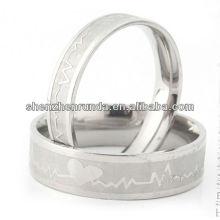 Bijoux de bijoux de mode anneaux d'argent couples anneau en acier inoxydable