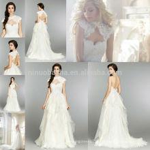 Neue Ankunfts-2014 Schatz-Backless gekräuseltes Chiffon- A - zeichnen Sie Hochzeits-Kleid-Kleid mit hoher Ansatz-Kappen-Hülsen-Spitze-Jacke NB0677