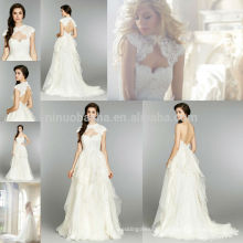 New Arrival 2014 Sweetheart Backless Ruffled Chiffon A-Line Wedding Dress Gown With High Neck Cap Sleeve Lace Jacket NB0677