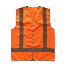Orange Klettverschluss reflektierende Sicherheitsweste mit Kreuzreflektierband auf der Rückseite