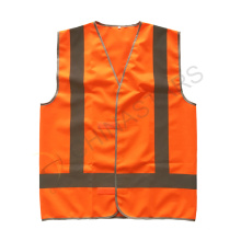 Orange velcro closure reflective safety vest with cross reflective tape on back