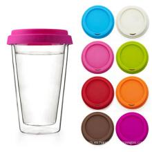Tapa de taza de café reutilizable con tapa de silicona colorida