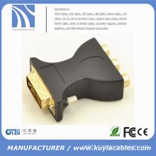 DVI 24 + 5 broches mâle à 3 convertisseurs d'adaptateur femelle RCA