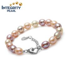 Bracelet perle d'eau douce naturelle AAA Drop Shape Bracelet perle femme charmante 8-9mm