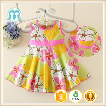 2018 high quality girls casual cotton summer skirt medium dress dresses casual with hat