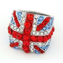Горячая распродажа! Tresor Париж Великобритания Флаг Кольца Shamballa Кристаллические Кольца FR01