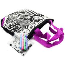 Custom DIY Nylon Scrawl Doodle Shopping Bag with Colour Pen