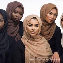 Frauen Blase Plain Falten Hijab Schal mit Fransen Beliebte Muslim Muffler Tücher Wraps große Pashmina (SW104)