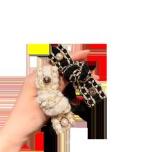 Korean Pearl Black White Fabric Scrunchies Plaid Hair Tie Elastic Band Ring Cute Girl Ponytail Head Rope Rubber Belle Femme