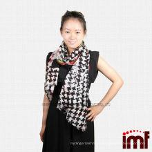 100% Wool Fabric Black Bird Rose Printed Latest Shawl Scarves