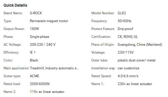 GRA series ac linear motor/ 230vac lifting using linear motor, customized