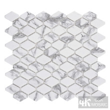 C&K Mosaic Hexagon Glass Mosaic Tile Backsplash Cocina