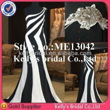 New fashion one-shoulder vertical stripes dress bridesmaid dress