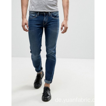 Plain Dyed Slim Stickerei Logo Denim Baumwollhose