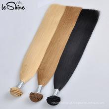 100 mão puxada dobro do cabelo de Remy do indiano do Virgin da extensão da mão do cabelo humano da extensão