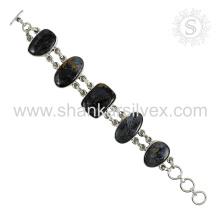 Bracelete de pedras preciosas de Labradorite espetacular Jóias de prata esterlina 925 em linha Jóias indianas artesanais
